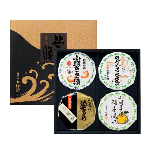 笹漬膳4ヶ入(小鯛ささ漬・のどぐろささ漬・ゆず風味・小鯛昆布〆)