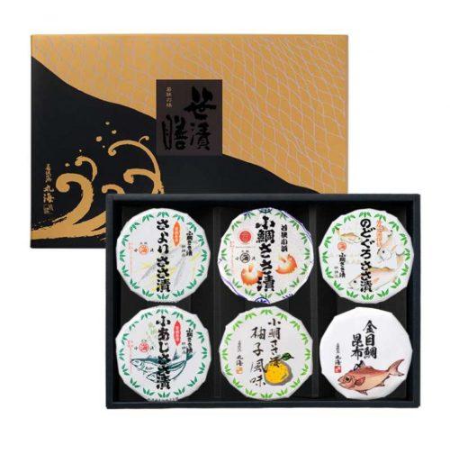 笹漬膳6ヶ入(小鯛・柚子・さより・小あじ・のどぐろ・金目昆)
